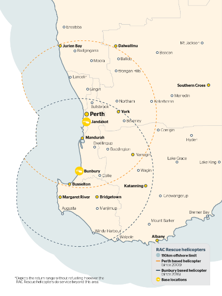 Map showing the return range the Perth based and Bunbury based helicopters can travel without refuelling