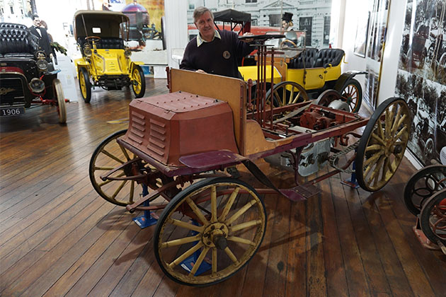 Graeme Cocks with the Benz at the York Motor Museum