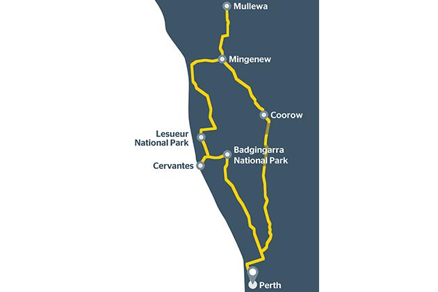 Map of Mullewa road trip