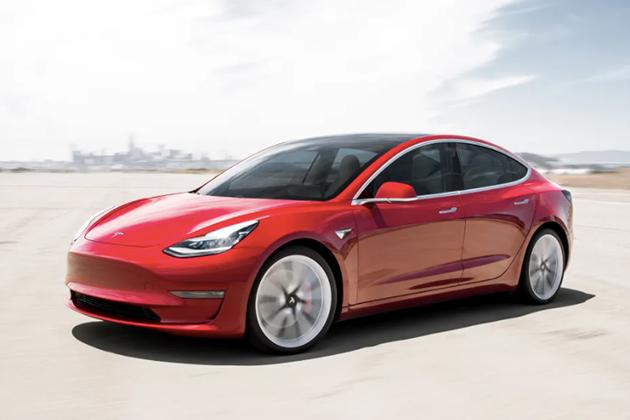 Image of red Tesla Model 3
