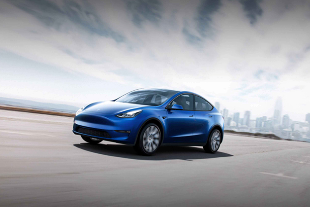 Image of blue Tesla Model Y