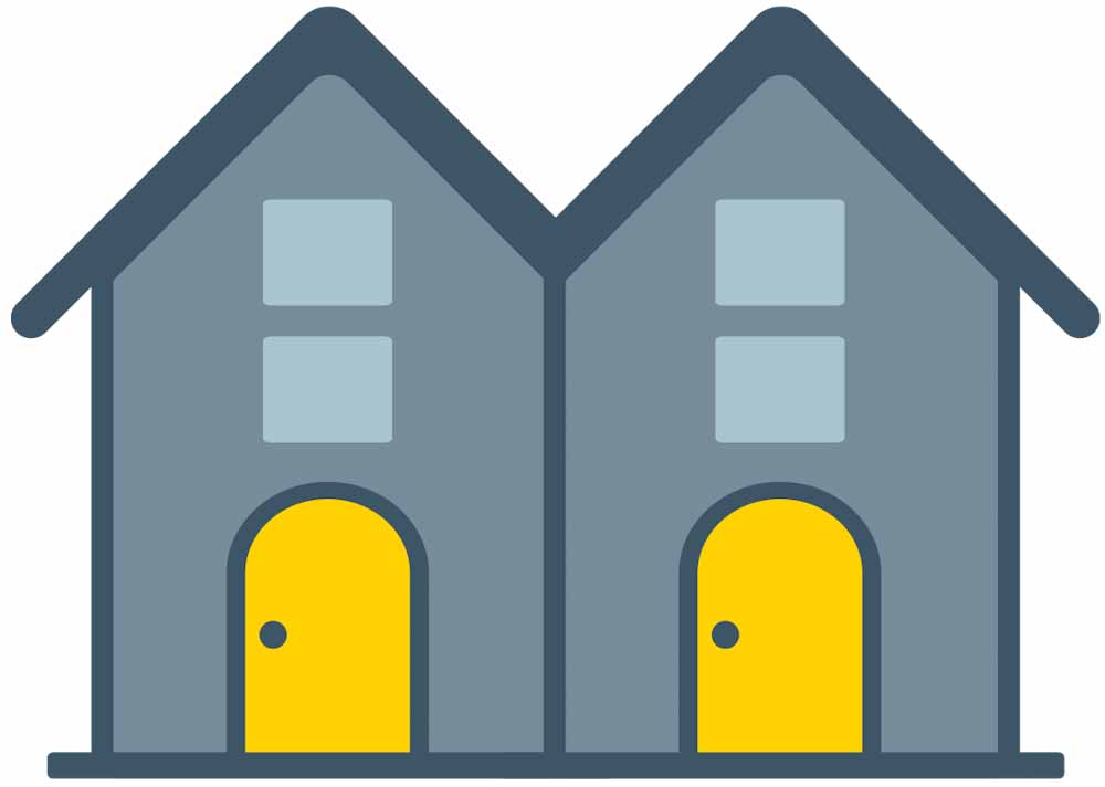 An illustration of two identical duplex homes side by side