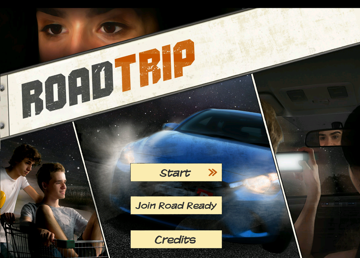 The Road Trip app's home screen